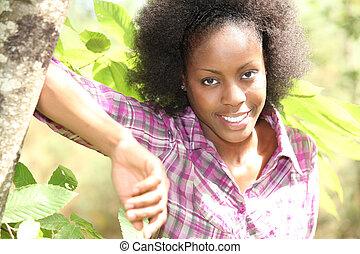 mulher, inclinar-se, árvore