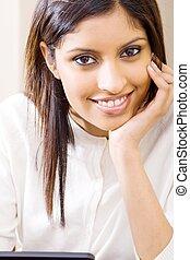 mulher, indianas, bonito