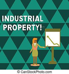mulher, industrial, apontar, whiteboard., patente, foto, mostrando, marca registrada, mapa, escrita, nota, intangível, vara, segurando, seta, showcasing, propriedade, negócio, ou, property.