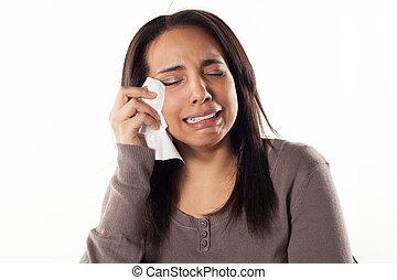 mulher, infeliz, chorando