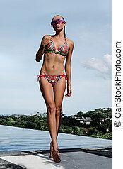 mulher, infinidade, biquíni, excitado, telhado, piscina, natação