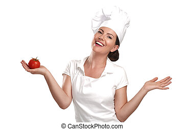mulher, ingredientes, alimento, mostrando, cozinheiro jovem,...