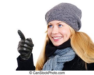 mulher, inverno, apontar, sobre, loura, sorrindo, roupas, branca, cima