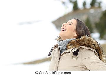 mulher, inverno, ar, respirar, fresco, feriado, feliz