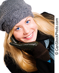 mulher, inverno, closeup, loura, sorrindo, roupas