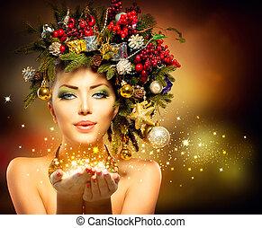 mulher, inverno, dela, milagre, mão, natal
