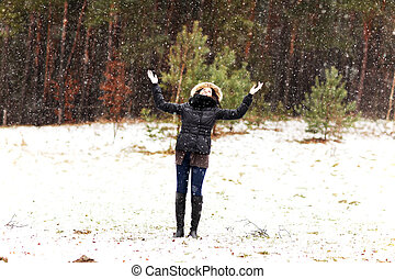 mulher, inverno, feliz
