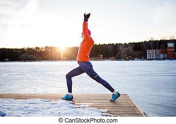 mulher, inverno, foto, manhã, esportes, exercício