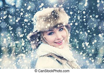 mulher, inverno, fundo, neve