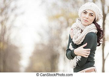 mulher, inverno, jovem