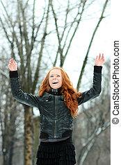 mulher, inverno, jovem, parque, bonito