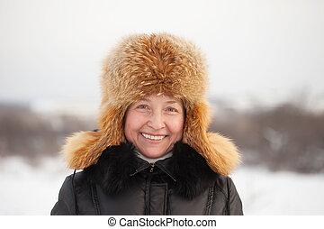 mulher, inverno, maduras