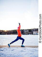 mulher, inverno, manhã, retrato, esportes, exercício