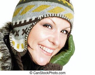 mulher, inverno, morena, closeup, sorrindo, roupas