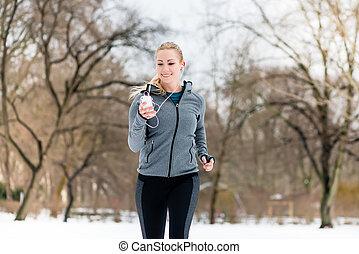 mulher, inverno, parque, baixo, executando, caminho, dia