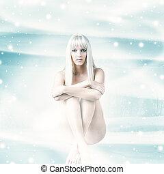 mulher, inverno, sentando, fundo, excitado, natal