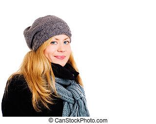 mulher, inverno, sobre, closeup, loura, sorrindo, branca, roupas