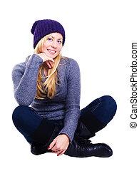 mulher, inverno, sobre, fundo, jovem, loura, sorrindo, branca, roupas