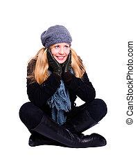 mulher, inverno, sobre, fundo, loura, sorrindo, branca, roupas