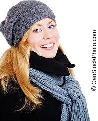 mulher, inverno, sobre, loura, branca, sorrindo, roupas