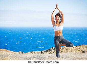 mulher, ioga