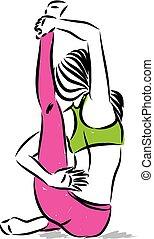 mulher, ioga, costas, ilustração, vetorial, condicão física, postura