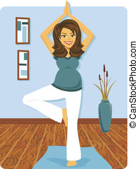 mulher, ioga, grávida