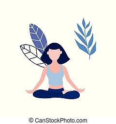 mulher, ioga, loto, vetorial, meditação, postura