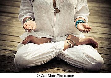 mulher, ioga, mudra, simbólico, mãos, gesto