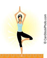 mulher, ioga posa, ilustração, tradicional, vetorial