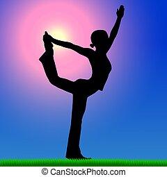 mulher, ioga, prática, fundo