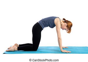 mulher, ioga, práticas