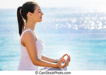 mulher, ioga, próprio, procurar, interior, session.