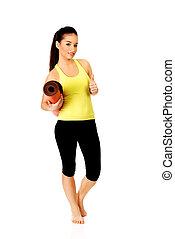 mulher, ioga, pronto, segurando, condicão física, mat.