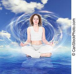 mulher, ioga, withe, céu, água, colagem, fundo, vestido