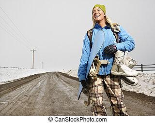 mulher, ir, snowboarding.