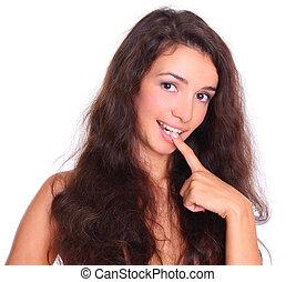mulher, isolado, cabelo longo, excitado, branca