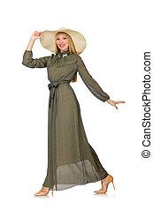 mulher, isolado, cabelo longo, verde, loura, vestido branco