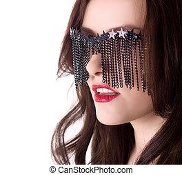 mulher, isolado, criativo, excitado, elegante, óculos