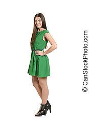 mulher, isolado, experiência verde, vestido branco