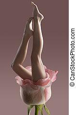 mulher, isolado, longo, nu, bonito, pernas