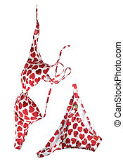 mulher, isolado, paleto, branco vermelho, natação