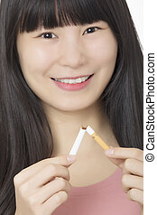mulher, isolado, terminando, enquanto, asiático, fundo, fumar, branca, sorrindo