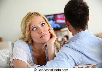 mulher, ith, observar, sendo, tv, loura, aborrecido, namorado