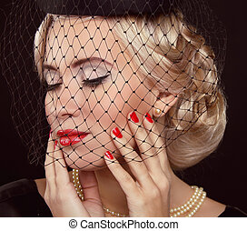 mulher, jóia, beauty., moda, portrait., retro, foto