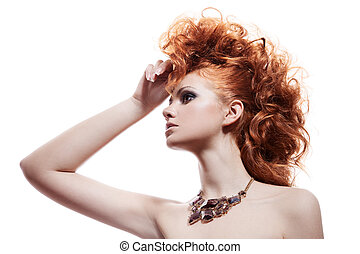 mulher, jóia, isolado, moda, luxo, retrato