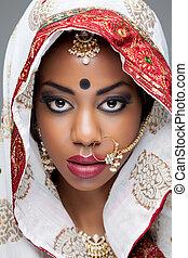 mulher, jóia, maquilagem, jovem, tradicional, indianas, nupcial, roupa