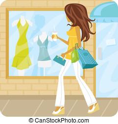 mulher, janela fazendo compras