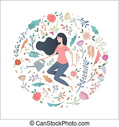 mulher, jardim, can., aguando, jovem, círculo, flores