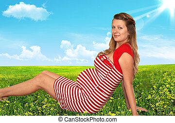 mulher, jardim, grávida
